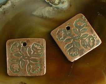 Etched Copper Earring Pair  Floral Bouquet Catalinaglass SRA