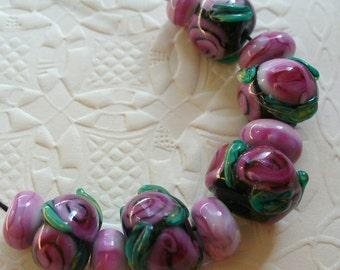 SRA Handmade LAmpwork Glass Beads by Catalinaglass Raspberry Roses