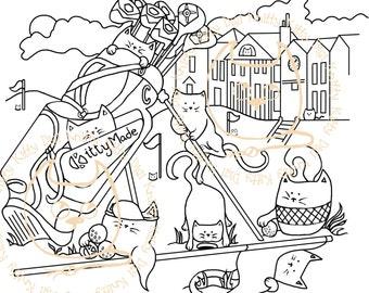Digi Stamp Instant Download. One Under Purr - Knitty Kitty Digis No. 34