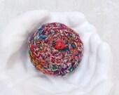 Lucky Ladybug Treasure Basket Handmade with Silk Sari Threads - Unique Shelf Decor Gift for Garden Lovers - Trinket Keepsake Gift Box STB028