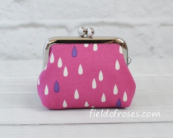 Small Frame Coin Purse Modern Raindrop Berry Magenta Rosary Case Earbud Case Earbud Holder Clasp Change Purse