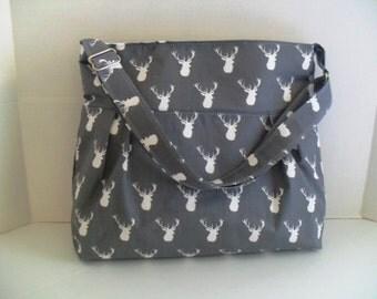 Deer Diaper Bag - Buck Head - Messenger Bag - Crossbody - Gray Deer