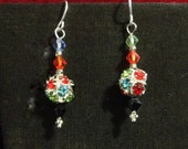 Multicolor bling dangle earrings on silver plated findings /silver ear wires