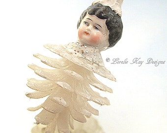 Pinecone People Doll Ornament Whimsical Art Doll Ornament Whimsical Pine Cone Hanging Art Doll Lorelie Kay Original