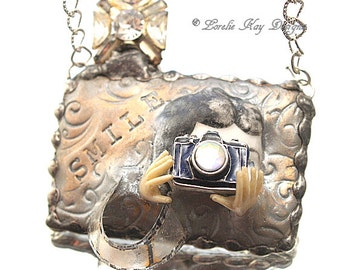 Smile Photographer Necklace Camera Antique Doll Assemblage Pendant Lorelie Kay Original