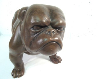 Vintage bulldog planter, dog planter, ceramic bulldog, dog plant holder