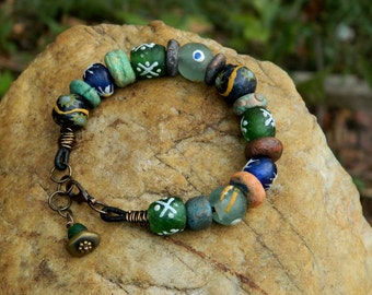 Rustic Recycled Glass Bead Boho Bracelet