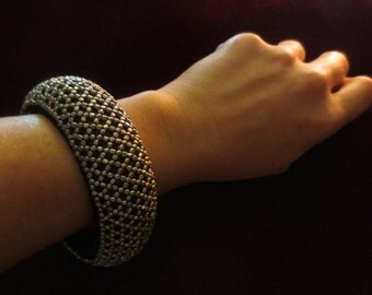 Vintage Silver Black Beaded Bangle Bracelet Gypsy Hippie Bellydance