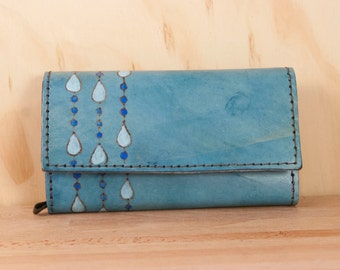 Oversize Wallet - Large Wallet - Checkbook Wallet - Womens Wallet - Rain pattern with modern raindrops - Blue leather