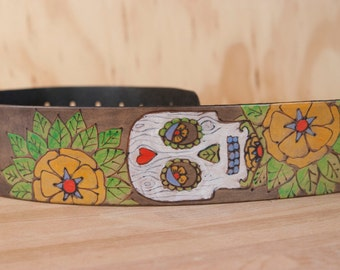 Guitar Strap - Leather in the Walden Pattern with day of the dad sugar skull  - Handmade Guitar Strap for Acoustic or Electric Guitars
