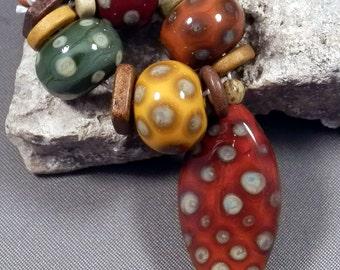 Handmade Lampwork Bead Set by Monaslampwork - Autumn Reactions - Handmade Lampwork by Mona Sullivan Boho Organic Tribal Gypsy Fall Autumn