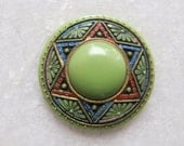 Vintage Antique Handpainted Egyptian Revival Molded Glass Stone Cabochon Button Blank - 30mm