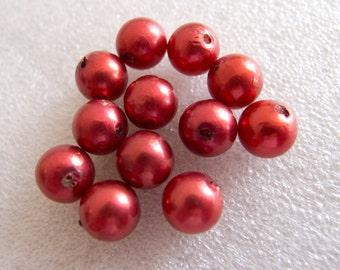Vintage Beads Czech 1950s Very Rare Papier Mâché Metallic Cranberry Round Beads - 10mm - Lot of 12