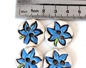 Flower Themed Handmade Ceramic Button Set of 4