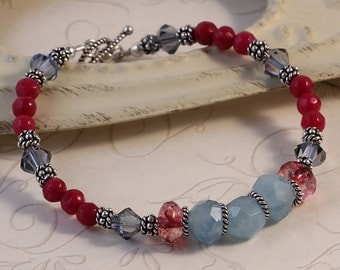 Bright Colorful Aquamarine Ruby Tourmaline Beaded Bracelet, March Birthstone July Birthstone, Blue and Red, Sterling Silver, Gemstones BWIL