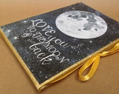 Love you to the Moon and Back, Accordion Photo Album, Mothers Day Gift, Brag Book, Nursery Album, Moon & Stars Print