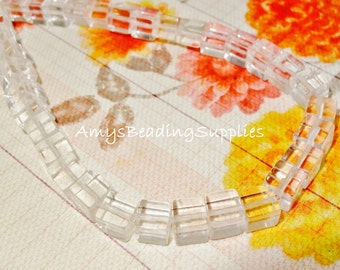 Crystal Quartz Cube 8mm Beads, per 1/2 Strand of 24 beads (Approx 8-inch strand)