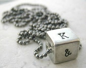 Men's Necklace, pewter cube, gunmetal ball chain, rustic necklace,, Man's Necklace, Valentine's Day, anniversary gift, masculine necklace