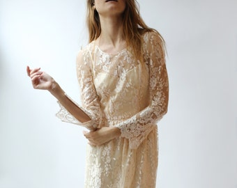 Long Sleeve --2 Piece, Peach Lace and silk Wedding Dress - Sample Sale