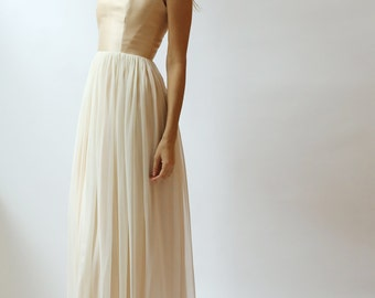 Sample SALE  peach champagne and ivory Wedding Gown
