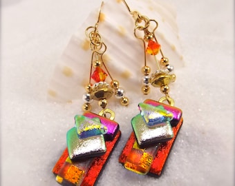 Artistic Dichroic Fused Glass Earrings, Hana Sakura, Fused Glass jewelry, Statement jewelry, unusual handmade, Red earrings, Glass fusion