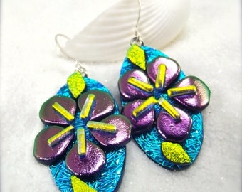 Dichroic glass earrings, Sakura blossom jewelry, sakura earrings, flower jewelry, Hana Sakura, purple earrings, dichroic, artisan jewelry