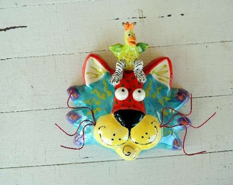 "Cat Face Ceramic Wall Hanging, One-of-a-Kind, Handmade by Dottie Dracos, ""11/24 CM bird"""