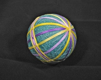Temari Ball Ornament Bands of Yellow and Purple on Teal Blue Home Decor Wedding Gift