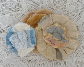 3 upcycled fabric flowers, cottage chic flower, gift top, lot flower supplies scrap flowers shabby upcycled quilt flower scrap appliques #25