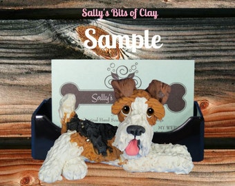 Wire Haired Fox Terrier Business Card Holder / Iphone / Cell phone / Post it Notes OOAK sculpture by Sally's Bits of Clay