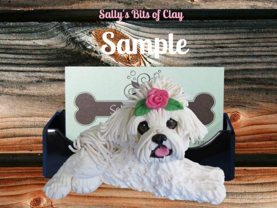 Maltese Dog with rose in topknot Business Card Holder OOAK sculpture by Sally's Bits of Clay