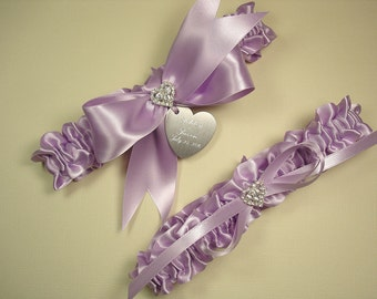 Lavender Wedding Garter Set, Personalized Wedding Garters in Light Purple Satin with Engraving and Rhinestone Hearts