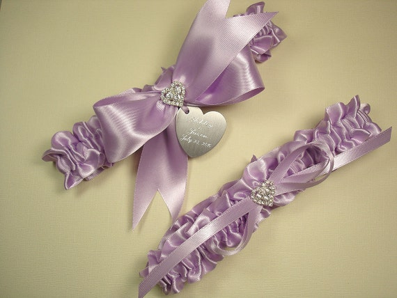 Lavender Wedding Garter Set Personalized Wedding Garters In