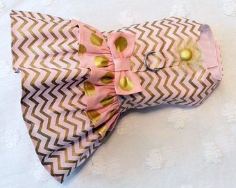 Dog Harness Dress  with Pale Pink and Gold Chevron and Dots