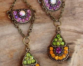 Rhinestone earrings, Crystal drops and Bronzed Chain Dangles