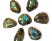 Gemstone Cabochon Labradorite Free Form Faceted Parcel SEVEN CABS