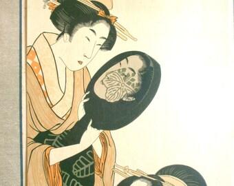 Japanese Woman Print - Vintage Japanese Print - Traditional Japanese - Woman Putting on Make-up at Toilette by Kitagawa Utamaro