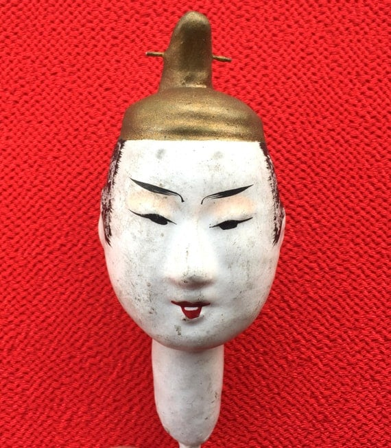 Japanese Hina Matsuri Doll Head - Doll Head - Pre WWII Doll Head - Very Old Head - Man's Doll Head - Body Part - D13-1