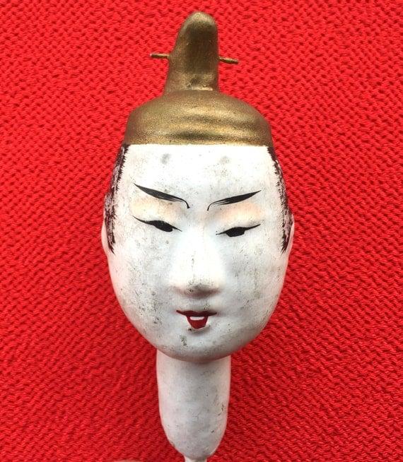 Japanese Hina Matsuri Doll Head - Doll Head - Pre WWII Doll Head - Very Old Head - Man's Doll Head - Body Part - D13-1
