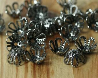 Oxidized antiqued silver tone bead cap 5x4mm, 48 pcs (item ID YWXH1293BBE)