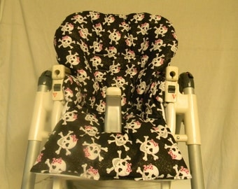 Prima Pappa Diner High Chair Cover In Black With Skulls Fits Many Style Chairs See Description
