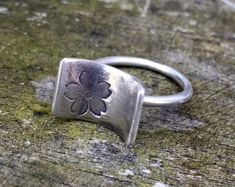 Curled at the edges sakura ring.  Recycled sterling silver handmade ring.