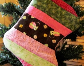 Baby Girl Christmas Stocking - Toddler Stocking - Owl Theme Christmas Stocking - Cotton - Minky - Pink Stocking - Quilted Stocking - Wide -