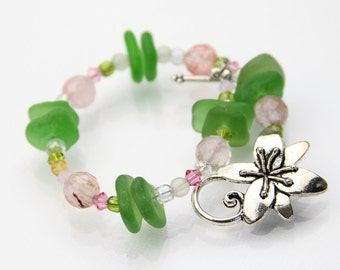 "Spring Pastel Sea glass jewelry - Sea glass bracelet - Gift for her - Crystals and tourmaline - Beach glass bracelet - 7.5"" - Authentic"