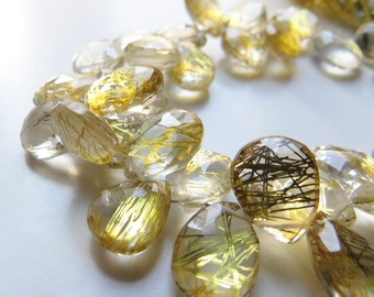 Golden Rutilated Quartz Briolettes, Strand (Man made)