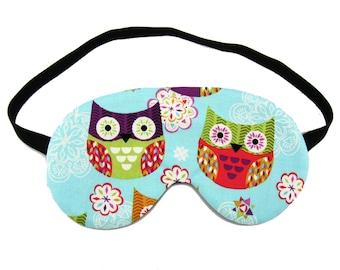 Owls on Sky Blue Sleep Eye Mask, Sleeping Mask, Travel Mask