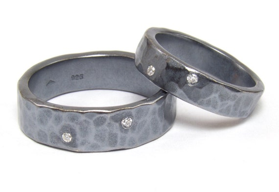 His and Hers Wedding Rings, Diamond Hammered Silver
