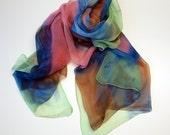 Hand painted silk chiffon scarf. Custom. Silk scarves. Handpainted silk shawl. Wedding gift.Ooak chiffon-71x37Inches(180x94cm)