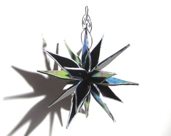 Onyx Petals - 3D Stained Glass Flower Burst - Medium Shimmering Black Abstract Home Garden Decor Suncatcher Hanging Ornament (READY TO SHIP)