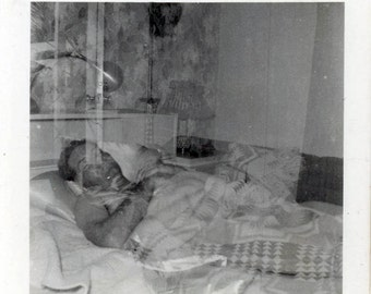 vintage photo 1953 Double Exposure Abstract Man Sleeping in Bed